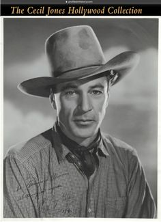 "Gary Cooper - Oversize Western photograph (ca. 1940s) Vintage original gelatin silver double weight semi-gloss photographs including 11 x 14 in. Western headshot photo inscribed and signed in black ink in the lower left of image, ""Margaret Warren, with my best regards Gary Cooper 1943"". Coburn photo retains photographer's embossed blindstamp in the lower border."
