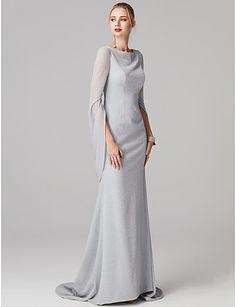 71e5f76819b Mermaid   Trumpet Bateau Neck Sweep   Brush Train Spandex Formal Evening  Dress with Pleats by