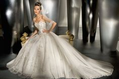 Natural waist chapel train sleeveless organza charming bridal gown