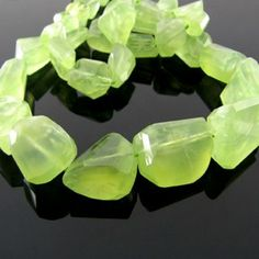 10-20mm - AA Prehnite Step-Cut Nuggets Bead Strands