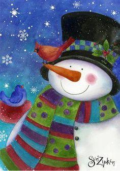 quenalbertini: Snowman by Sue Zipkin Christmas Rock, Christmas Canvas, Christmas Paintings, Christmas Pictures, Christmas Snowman, Winter Christmas, Vintage Christmas, Christmas Crafts, Christmas Decorations