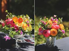 Vibrant wedding centerpieces by Petalworks, Northern CA.