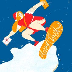 Illustration Ladies Vienna want to do Advent Calendar on Instagram - every day they will feature a new illustration. The topic is Christmas obviously - so this is what I sent: Santa lady on a snowboard holding some awesome gifts. Happy holidays everyone!! Awesome Gifts, Pencil Illustration, Pigs, Vienna, Snowboard, Tigger, Happy Holidays, Advent Calendar, Disney Characters