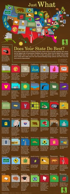 Just what does your #State do best? an #Infographic by solarpowerrocks.com #education #teach #history