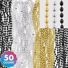 Black, Gold & Silver Bead Necklaces 50ct Party City