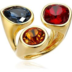 Kenneth Jay Lane Gold-Plated Multi-Dark Gem Cluster Ring This Kenneth Jay Lane ring has a simple look with a dazzling impact. this piece of gold-plated jewelry is the perfect way to add some old school flair to your fashion. The band features three glass crystals that are set on cluster. Each glass crystals cluster is set in bezel-set showcasing different dark color faux gem adds shiny and elegant. And uniquely the ring is an adjustable it can be size up from 5 to 7 so it fits to every…
