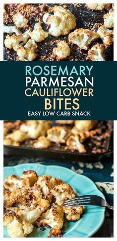 These rosemary Parmesan cauliflower bites make a great low carb side dish or snack. They are full of flavor, easy to make and have only net carbs per serving. Paleo Cauliflower Recipes, What Is Cauliflower, Baked Cauliflower Bites, Parmesan Cauliflower, Vegetarian Recipes, Vegetable Recipes, Low Carb Side Dishes, Side Dish Recipes, Low Carb Recipes