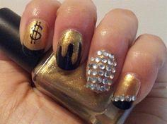 Kanye West - Gold Digger by FizzBeauty - Nail Art Gallery nailartgallery.nailsmag.com by Nails Magazine www.nailsmag.com #nailart