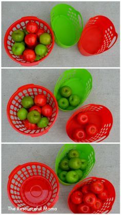 Fun Apple Sorting Activity for Toddlers Apple sorting-great activity for toddlers with items bought from the Dollar Tree.Apple sorting-great activity for toddlers with items bought from the Dollar Tree. Preschool Apple Theme, Fall Preschool, Preschool Activities, Preschool Apples, Preschool Colors, September Preschool, September Activities, Toddler Classroom, Toddler Learning
