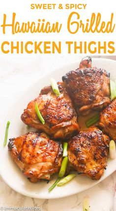 Hawaiian Grilled Chicken Thighs -succulent grilled chicken marinated in a pineapple juice, soy sauce, sriracha, ginger sauce. Sweet, spicy and delicious! Hawaiian Grilled Chicken, Grilled Chicken Thighs, Grilled Chicken Recipes, Grilled Meat, Easy Chicken Recipes, Chicken Breasts, Chicken Thigh Grill Recipes, Grilled Teriyaki Chicken, Grilling Recipes