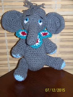 Stuffed Elephant crochet-gray blue red by MadeinMassachusetts