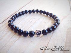 Stackable Onyx Yin Yang Wrist Mala Bracelet » Intention Bracelet » Balance Bracelet » Healing Bracelet by MartyTribble on Etsy