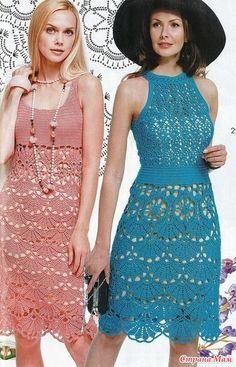 . Розовое и голубое. Два платья одним узором. - Все в ажуре... (вязание крючком) - Страна Мам