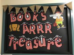 Using a window - simple cardboard, clip art and letters from teachers pay teachers BookWeek 2018 find your treasure Children's Book Week, Book Fairs, Boat Theme, School Library Displays, Book Displays, Pirate Theme, Library Ideas, Theme Ideas, Display Ideas