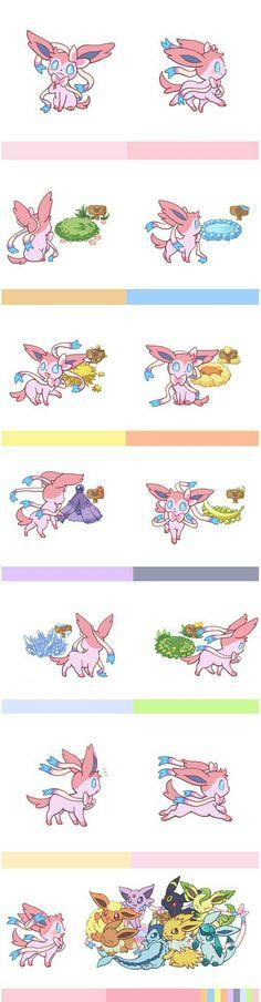 Eevee evolutions, Flareon, Jolteon, Glaceon, Leafeon, Umbreon, Espeon, Sylveon, Vaporeon, nests, homes, cute, comic; Pokémon
