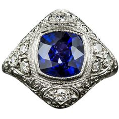 Preowned 3.00 Carat Sapphire, Platinum And Diamond Edwardian Ring ($9,850) ❤ liked on Polyvore featuring jewelry, rings, multiple, bezel set diamond ring, blue sapphire ring, art deco sapphire ring, edwardian diamond ring and vintage sapphire ring