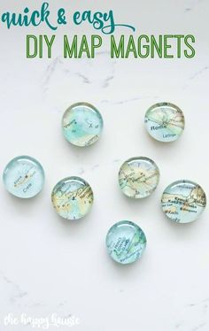 You can make these Quick & Easy DIY Map Magnets a great DIY Gift Idea tutorial at the happy housie-8