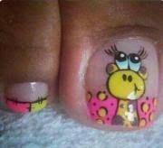 Imagen relacionada Animal Nail Designs, Toe Nail Designs, Mani Pedi, Pedicure, Nails For Kids, Kid Nails, Toe Polish, Rose Nails, Sexy Nails