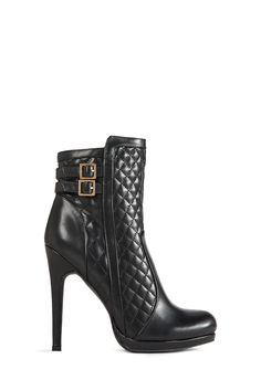 Lo and behold, Losira by JustFab is here. She's a super sexy heeled bootie featuring diamond quilting detail and dual buckled straps at the ankle.