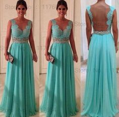 Vestidos formales de fiesta Elegant Sweetheart Beadings Nude Back Blue Lace Chiffon 2014 Sexy Long Evening Dresses NP1028