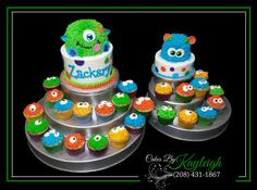 Little monster birthday cake with monster smash cake, and mini monster cupcakes. http:// www.facebook.com/cakesbykayleighboesiger