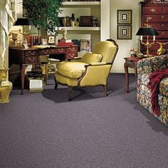 Perfector style carpet in Rich Amethyst color, available 12 feet wide wide, constructed with Mohawk PermaStrand™ Olefin carpet fiber. Mohawk Flooring, Carpet Flooring, American Houses, Modern Carpet, Bedroom Carpet, Floor Design, Carpet Runner, Traditional Design, Amethyst Color