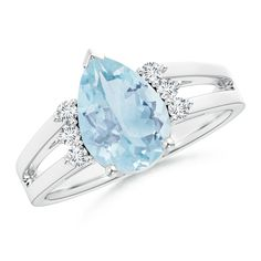 Angara Solitaire Marquise Aquamarine Split Shank Ring with Diamond Accents CPPNxf5T8A