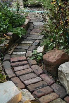 Brick Path. Garden and Landscape Project Idea | Project Difficulty: Simple | www.MaritimeVintage.com  #GardeningandLandscape