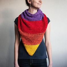 Crochet Cotton Triangle Scarf for Women in African by RUKAMIshop
