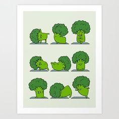 Broccoli Yoga Art Print by Huebucket - X-Small Yoga Art, Poster Prints, Art Prints, Art Posters, Cartoon Wallpaper, Cute Cartoon, Cute Wallpapers, Cute Drawings, Cute Art