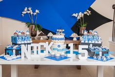 blue and silver themed birthday party - Google Search