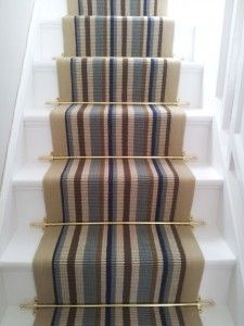 Stair runner carpet fitting to straight stairs with stair rods - Wholesale Carpets Wall Carpet, Carpet Stairs, Diy Carpet, Modern Carpet, Carpet Ideas, Striped Carpets, Patterned Carpet, Patterned Wall, Living Room Carpet
