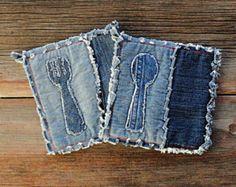 Blue Jeans Hot Pad - Denim Appliqued presine - le presine migliori mai