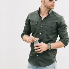 Casual utility shirts for men men clothing dress shirt sleeve is part of Mens fashion edgy - Look Man, Stylish Mens Fashion, Womens Fashion, Stylish Menswear, Herren Outfit, Fashion Night, Fashion Ideas, Work Fashion, Fashion Guide