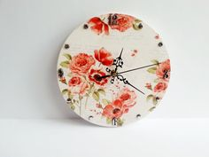 MADE ON ORDER Romantic shabby chic decoupage wooden wall clock poppies gift idea for her delicate clock