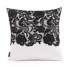 Brocade Black Lace Embroidered Cushion