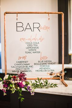 Script Your Event Euro Modern Modern Calligraphy Copper Pipe Stand Acrylic wedding sign Contemporary Wedding Signage, Wedding Menu, Floral Wedding, Rustic Wedding, Wedding Planning, Copper Wedding Decor, Wedding Signing Table, Modern Wedding Decorations, Modern Wedding Ideas