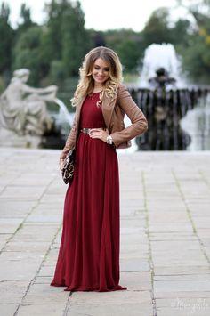 Red maxi dress, brown blazer, belt