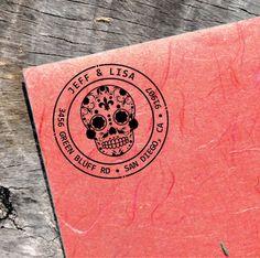 Custom Sugarskull Stamp - Address Round Stamp - Sugar Skull Ink Label - (Sugarskull_011)