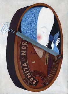 art, illustration, mermain, sardine can, fish, weird, //  Yolanda Mosquera, Bonita del Norte