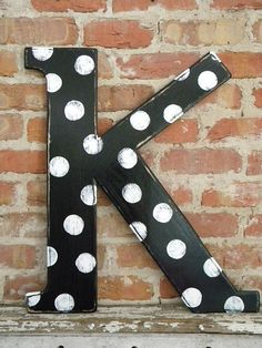 Wooden Letter K 24 Distressed Black with White by gracegraffiti, $40.00