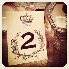 Pretty table number cards