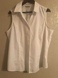 7846d2c20f88e Orvis Wrinkle Free Sleeveless White Button Down Shirt Blouse Size 18 or XL   Orvis