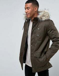 River Island | River Island Parka With Faux Fur Collar In Khaki