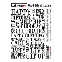 Darkroom Door Cling Stamp BIRTHDAY Word Block Rubber UM DDWB001