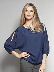 Who screams louder? Pretty blouse!    New York & Company - Blouses - Colorblock Cold Shoulder Dolman Blouse