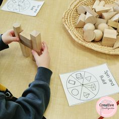 Spin and Build 3D shapes game and activities. Kindergarten math center to practice and review 3d shapes with this fun, hands-on center