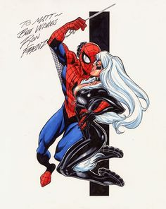 Spider-Man and Black Cat by Ron Frenz Comic Art
