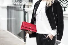 ASOS faux leather joggers, New Look Unicorn jumper and Real Suede biker jacket and a Chanel bag