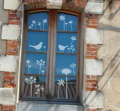 Fenstertattoo Motiv 'Herbstblumen'